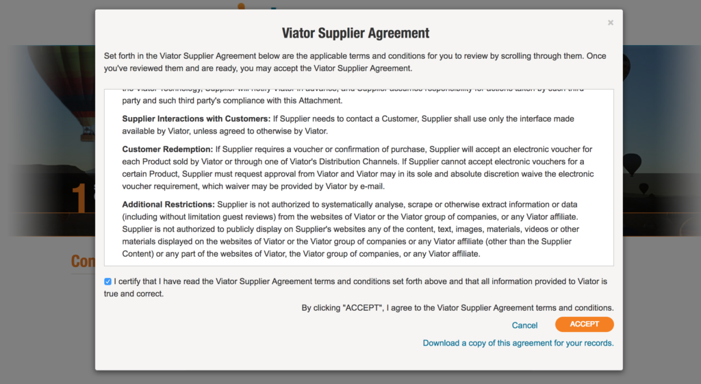 Accepting Viators Supplier Agreement