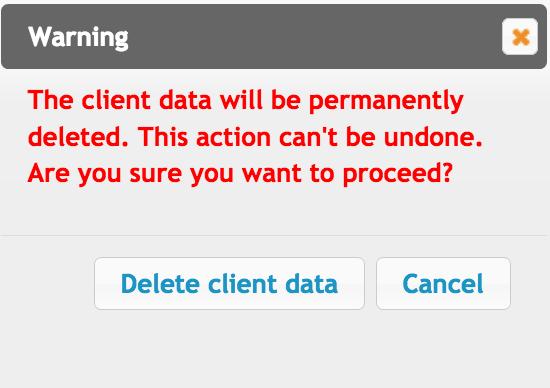 GDPR. Delete client data