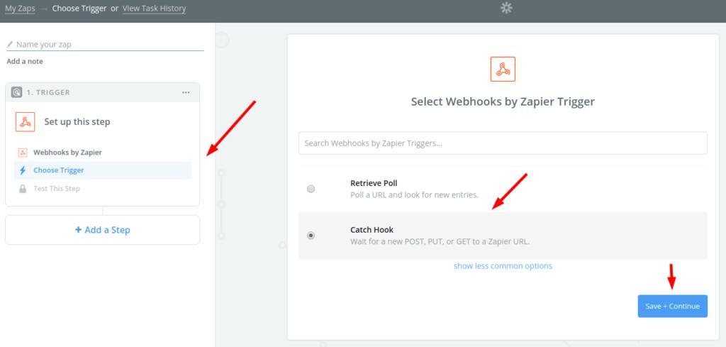select webhooks by zapier 1