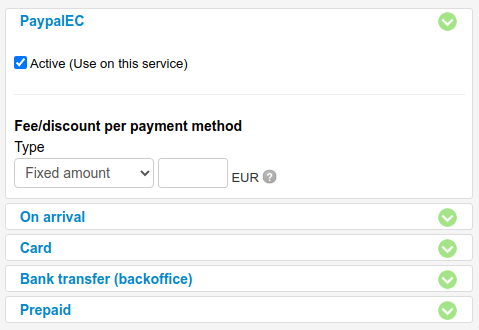 fee depending on what payment method