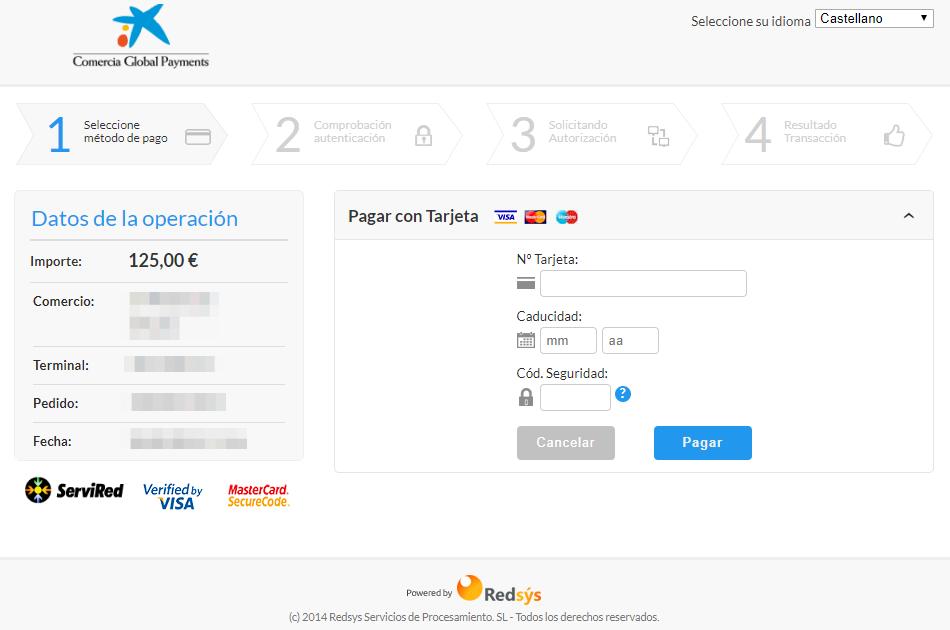 Página de externa de Redsys dónde tus clientes realizarán el pago, en este caso, a través de la entidad La Caixa.